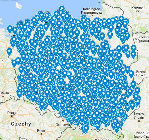 W tym miejscu znajduje się mapa z zaznaczonymi szkołami, w których realizowaliśmy zamówienie na dostawę komputerów.